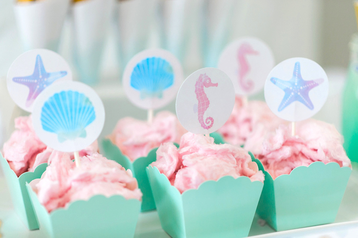Cotton candy from a Pastel Mermaid Birthday Party on Kara's Party Ideas   KarasPartyIdeas.com (35)