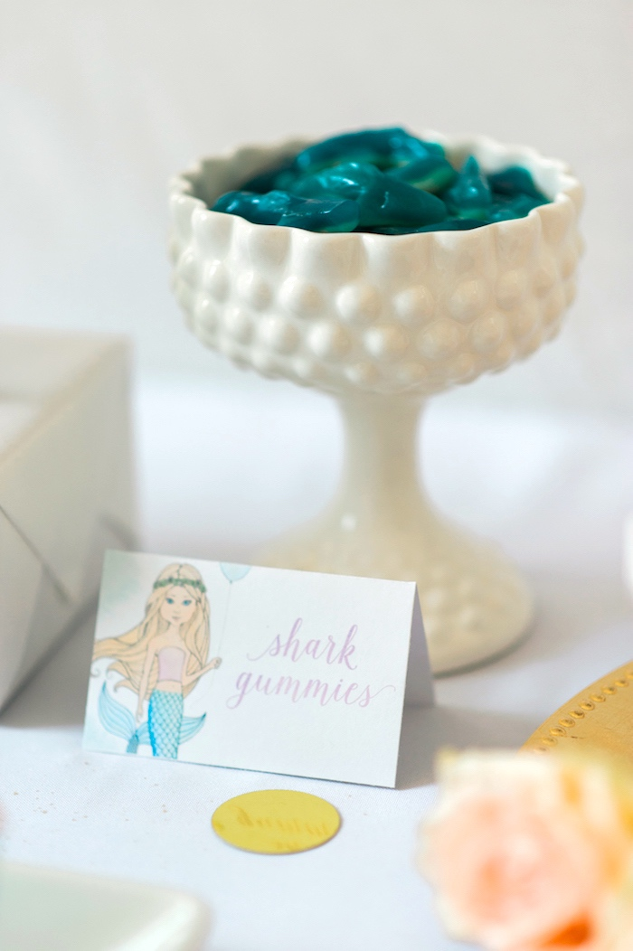 Gummy sharks from a Pastel Mermaid Birthday Party on Kara's Party Ideas | KarasPartyIdeas.com (33)