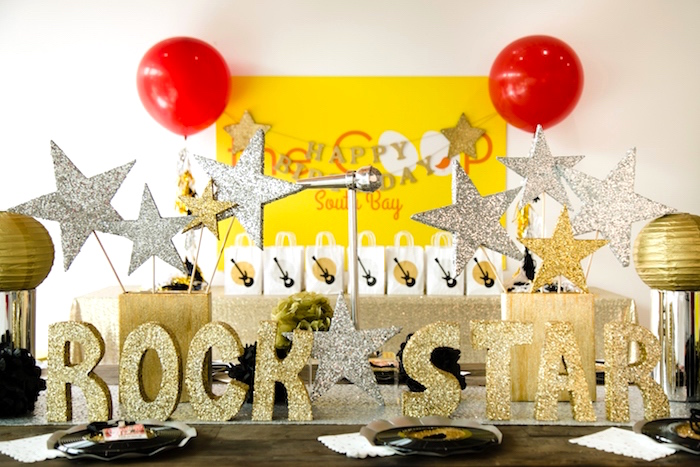 Guest table from a Rock Star Birthday Party on Kara's Party Ideas | KarasPartyIdeas.com (10)
