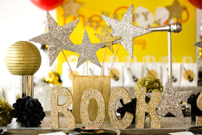 Glitter letters & stars from a Rock Star Birthday Party on Kara's Party Ideas | KarasPartyIdeas.com (4)