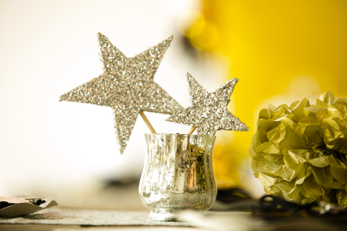 Glitter star decoration from a Rock Star Birthday Party on Kara's Party Ideas | KarasPartyIdeas.com (20)