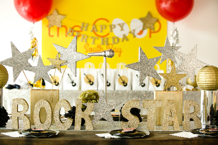 Glitter letters & stars from a Rock Star Birthday Party on Kara's Party Ideas | KarasPartyIdeas.com (18)