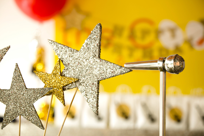 Glitter stars from a Rock Star Birthday Party on Kara's Party Ideas | KarasPartyIdeas.com (17)