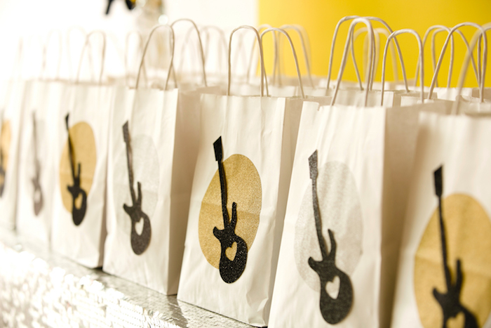 Guitar-printed favor bags from a Rock Star Birthday Party on Kara's Party Ideas | KarasPartyIdeas.com (16)
