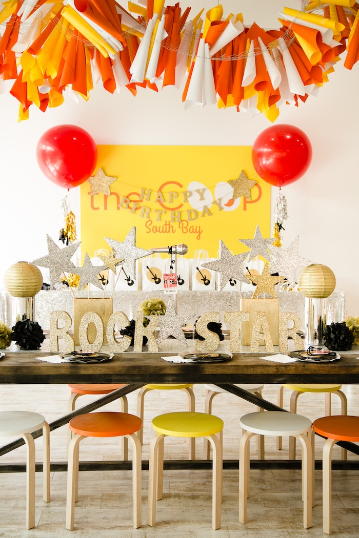 Guest table from a Rock Star Birthday Party on Kara's Party Ideas | KarasPartyIdeas.com (14)