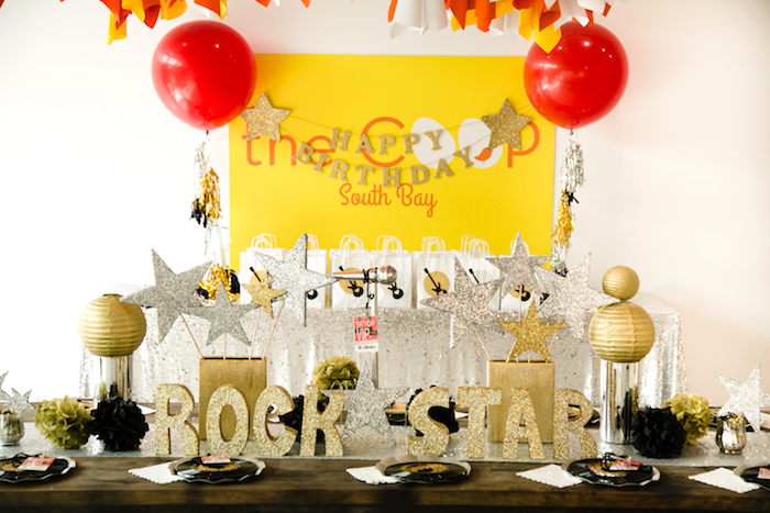 Guest table from a Rock Star Birthday Party on Kara's Party Ideas | KarasPartyIdeas.com (13)