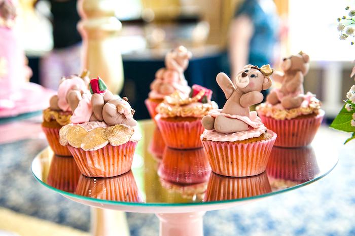 Teddy bear cupcakes from a Royal Teddy Bear Princess Baby Shower on Kara's Party Ideas | KarasPartyIdeas.com (16)