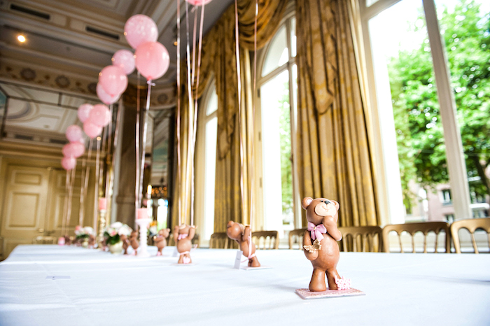 Guest tablescape lined with teddy bear centerpieces from a Royal Teddy Bear Princess Baby Shower on Kara's Party Ideas | KarasPartyIdeas.com (14)