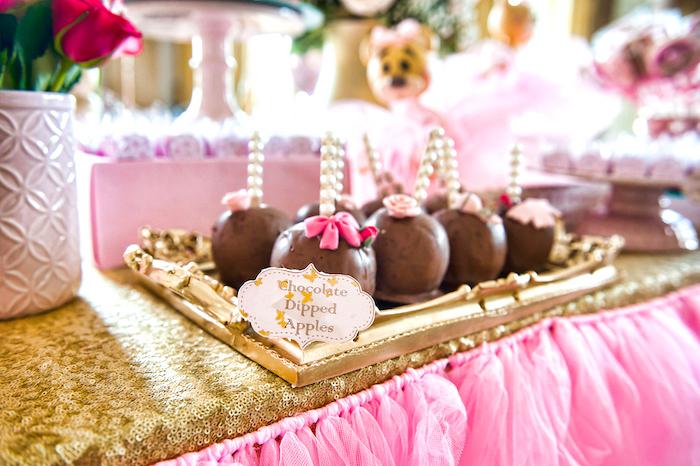Chocolate dipped apples from a Royal Teddy Bear Princess Baby Shower on Kara's Party Ideas | KarasPartyIdeas.com (13)