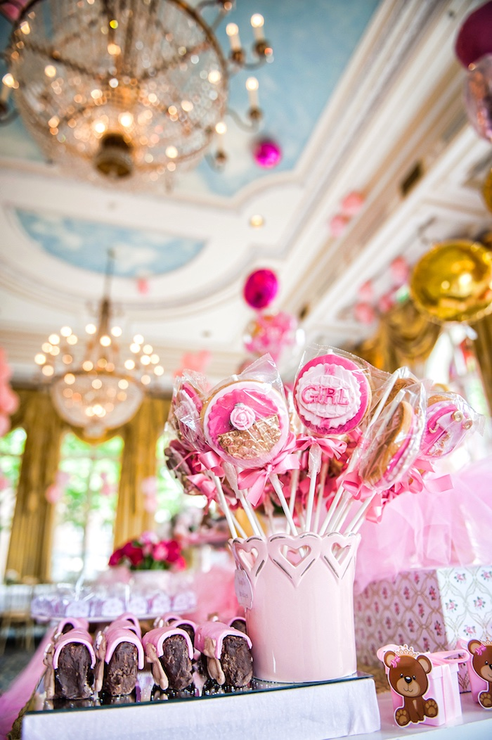 Cookie pops from a Royal Teddy Bear Princess Baby Shower on Kara's Party Ideas | KarasPartyIdeas.com (11)