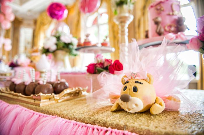 Teddy bear from a Royal Teddy Bear Princess Baby Shower on Kara's Party Ideas | KarasPartyIdeas.com (10)