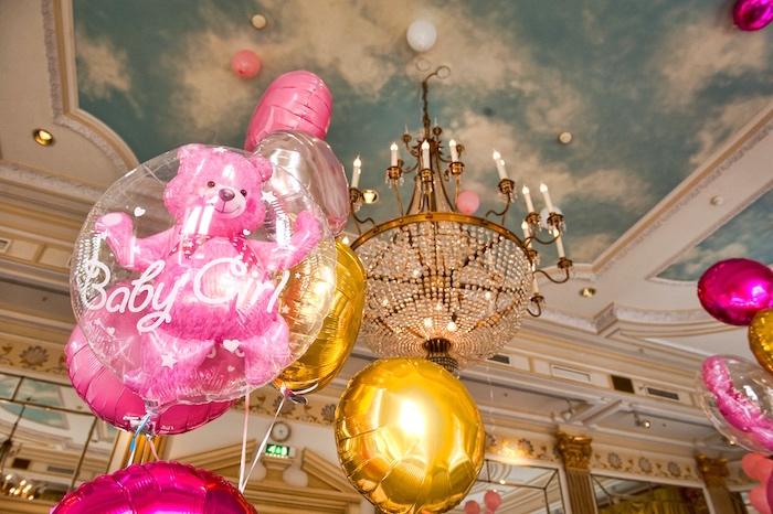 Encased teddy bear balloon from a Royal Teddy Bear Princess Baby Shower on Kara's Party Ideas | KarasPartyIdeas.com (8)