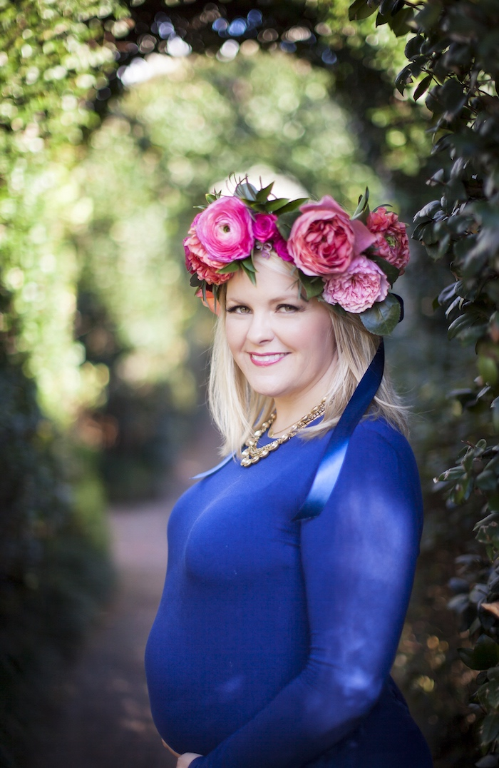 Floral crown worn by the mom-to-be from a Secret Garden Baby Shower on Kara's Party Ideas | KarasPartyIdeas.com (18)