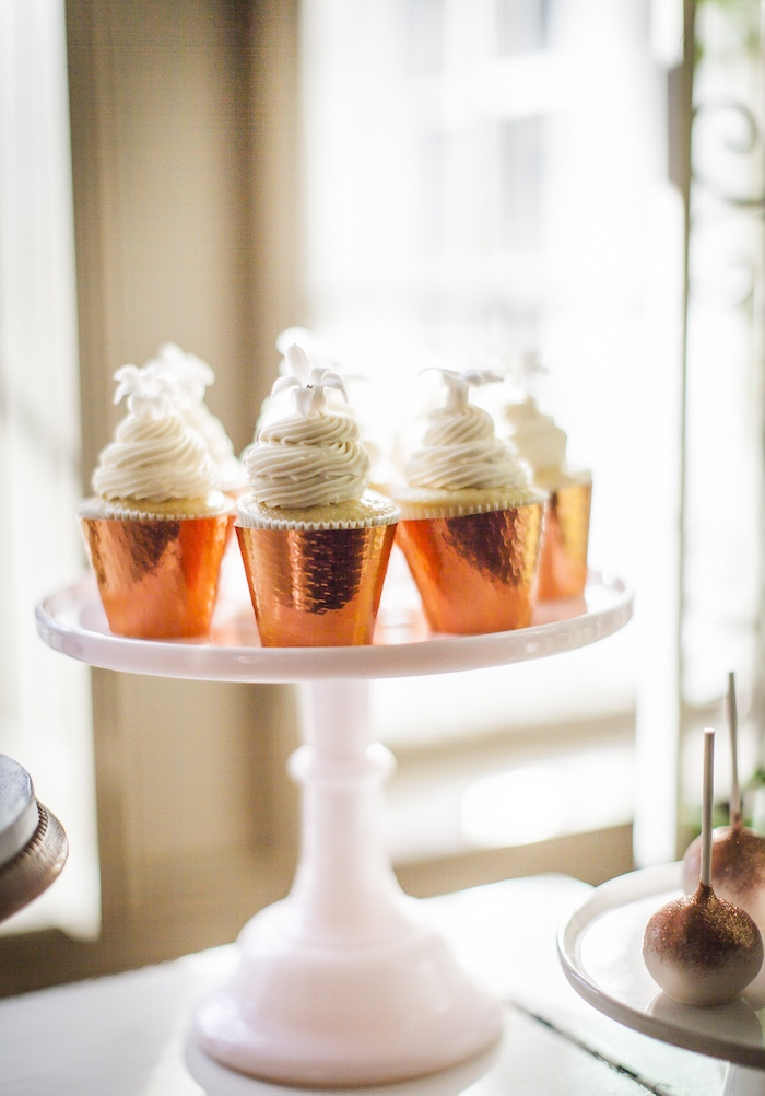 Copper-cupped cupcakes from a Secret Garden Baby Shower on Kara's Party Ideas | KarasPartyIdeas.com (11)