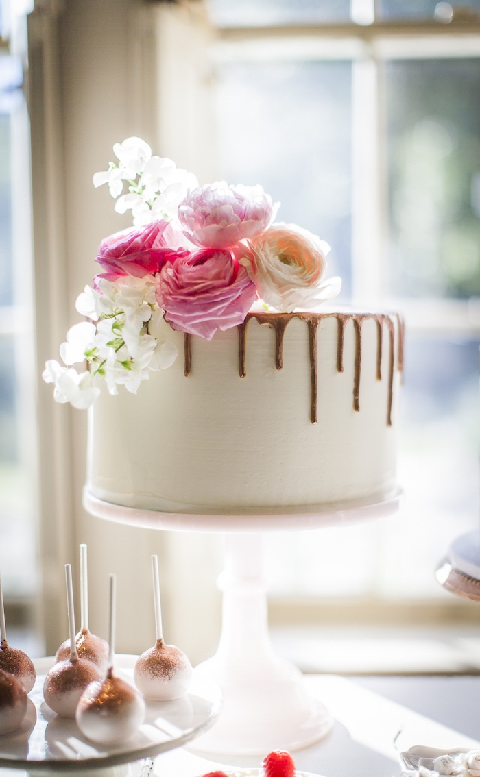 Drip cake from a Secret Garden Baby Shower on Kara's Party Ideas | KarasPartyIdeas.com (10)