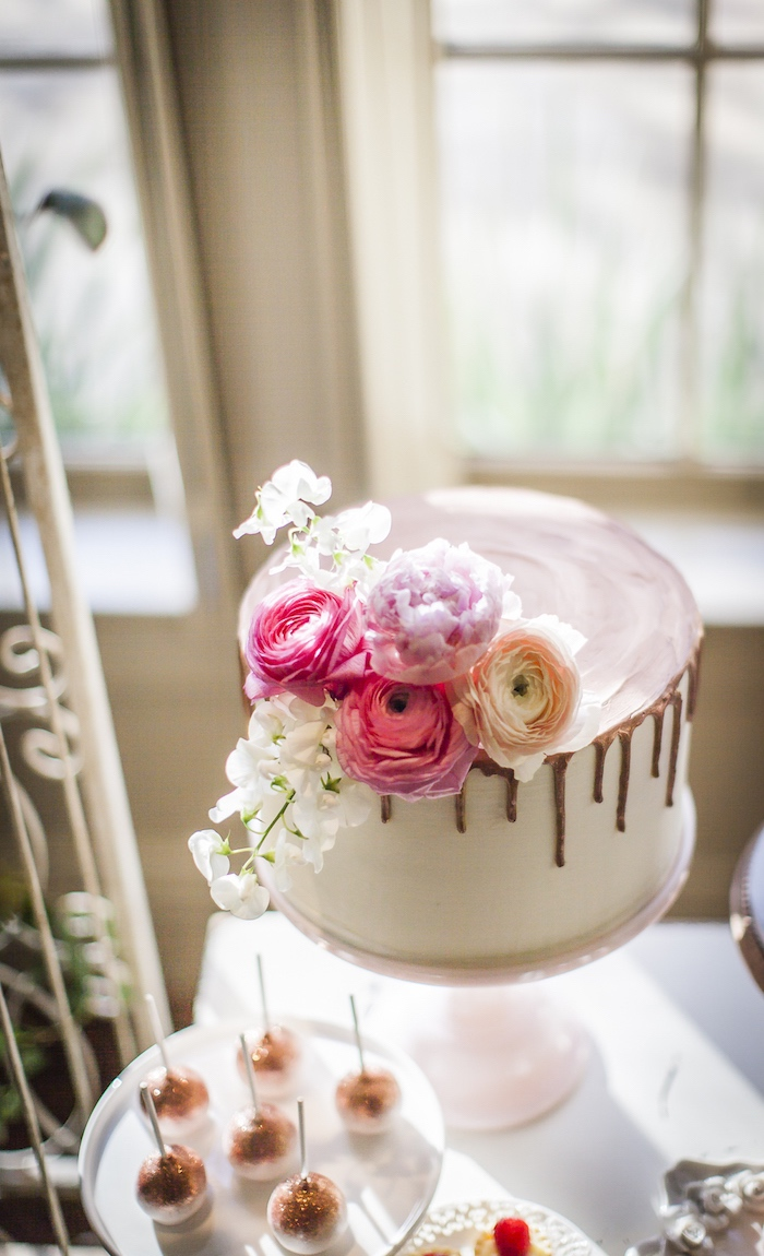 Flower-topped cake from a Secret Garden Baby Shower on Kara's Party Ideas | KarasPartyIdeas.com (7)