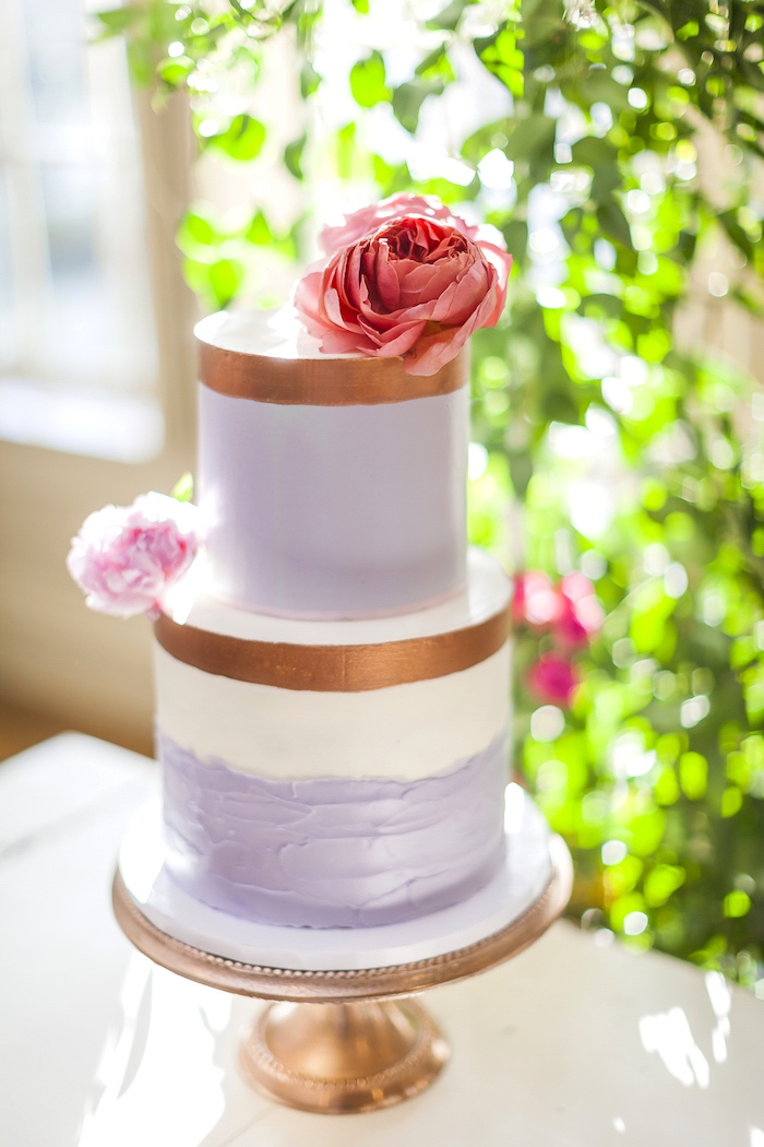 Purple + gold cake from a Secret Garden Baby Shower on Kara's Party Ideas | KarasPartyIdeas.com (4)