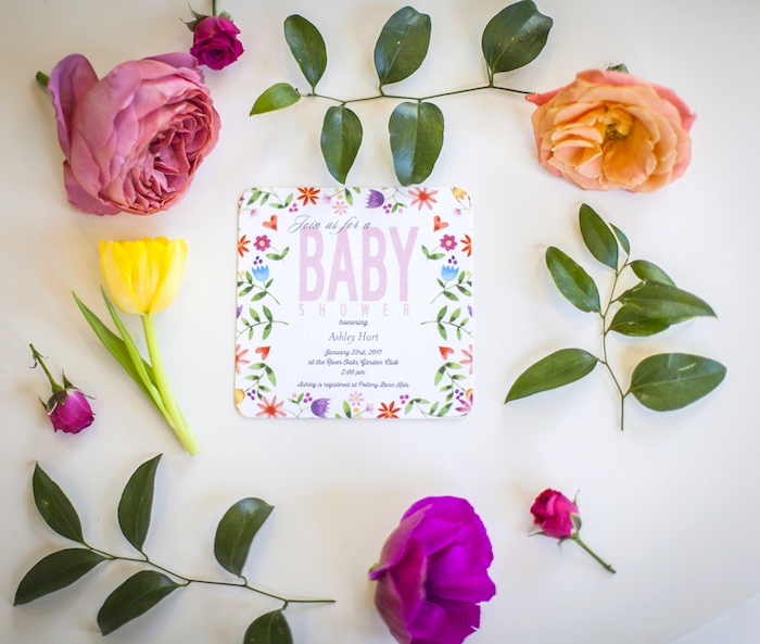 Floral invitation from a Secret Garden Baby Shower on Kara's Party Ideas | KarasPartyIdeas.com (35)