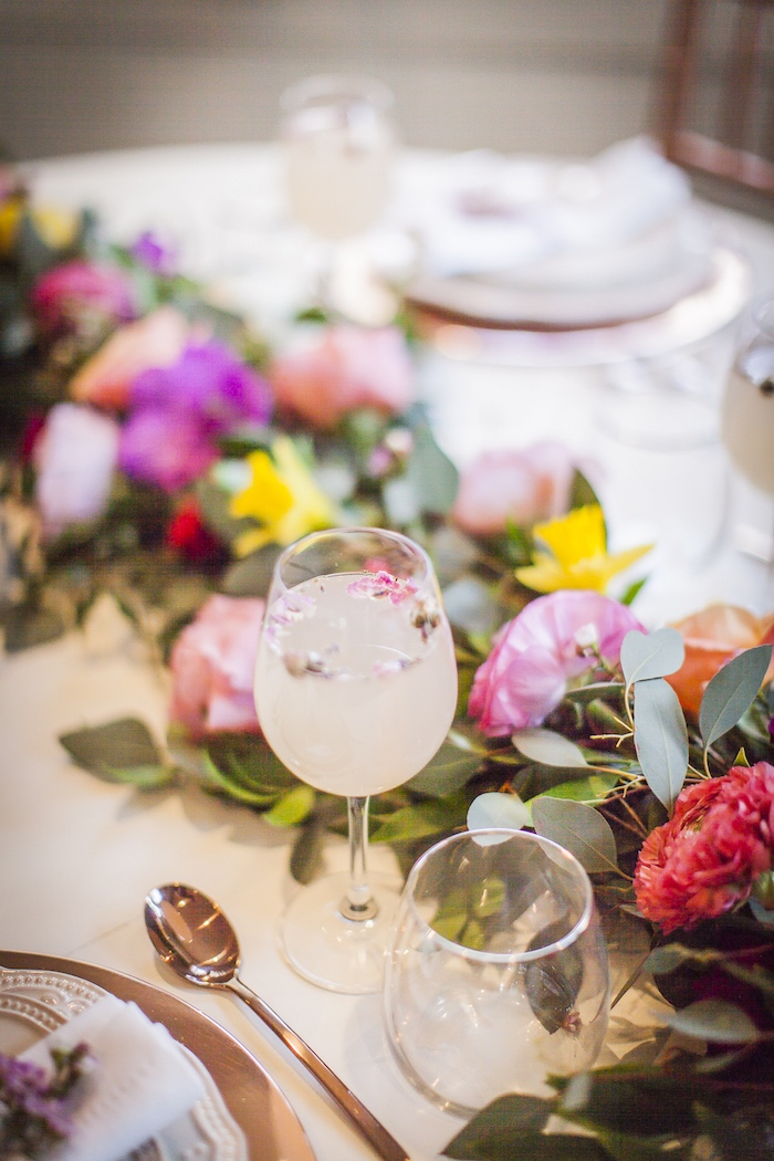 Drink glass with floating flowers from a Secret Garden Baby Shower on Kara's Party Ideas | KarasPartyIdeas.com (31)