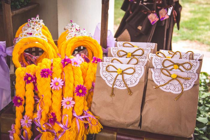 Rapunzel braid headbands + favor sacks from a Shabby Chic Tangled Birthday Party on Kara's Party Ideas | KarasPartyIdeas.com (9)