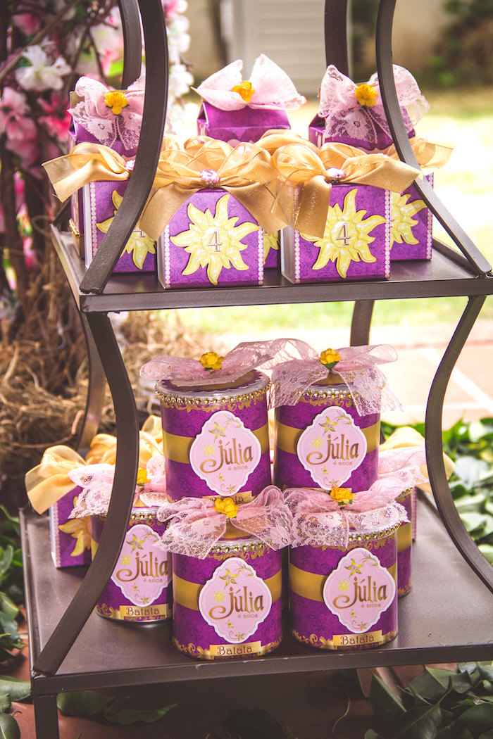 Tangled party favors from a Shabby Chic Tangled Birthday Party on Kara's Party Ideas | KarasPartyIdeas.com (8)