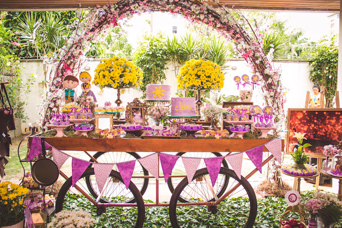 Floral arch dessert wagon from a Shabby Chic Tangled Birthday Party on Kara's Party Ideas | KarasPartyIdeas.com (21)