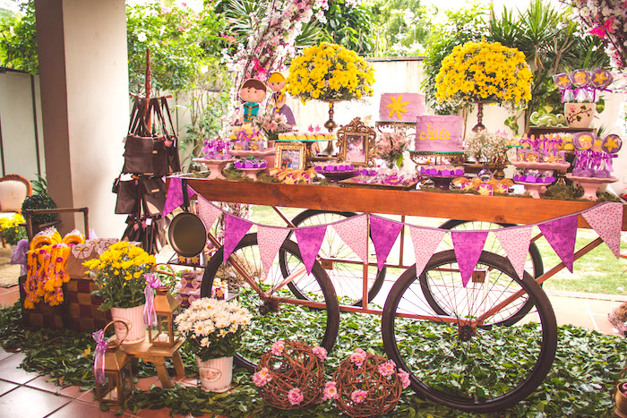 Dessert table from a Shabby Chic Tangled Birthday Party on Kara's Party Ideas | KarasPartyIdeas.com (19)