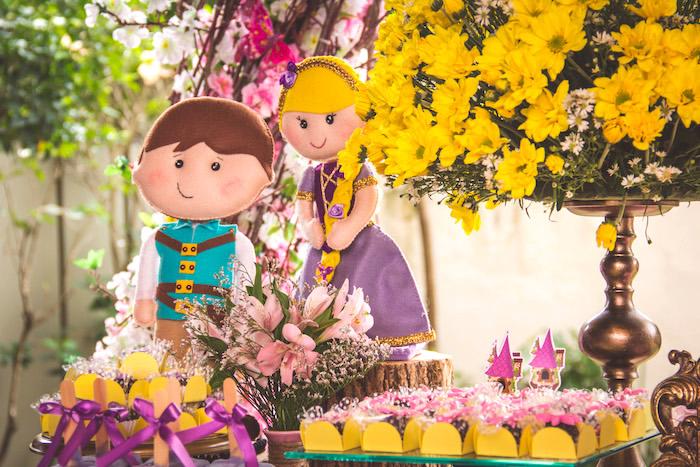 Felt Rapunzel and Flynn dolls from a Shabby Chic Tangled Birthday Party on Kara's Party Ideas | KarasPartyIdeas.com (13)