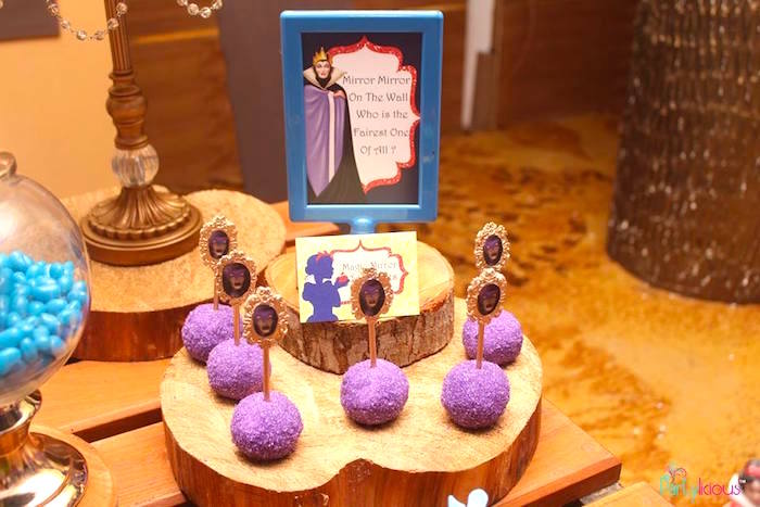 Magic Mirror Cake Pops from a Snow White & The Seven Dwarfs Birthday Party on Kara's Party Ideas | KarasPartyIdeas.com (30)