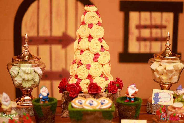 Meringue tower from a Snow White & The Seven Dwarfs Birthday Party on Kara's Party Ideas | KarasPartyIdeas.com (20)