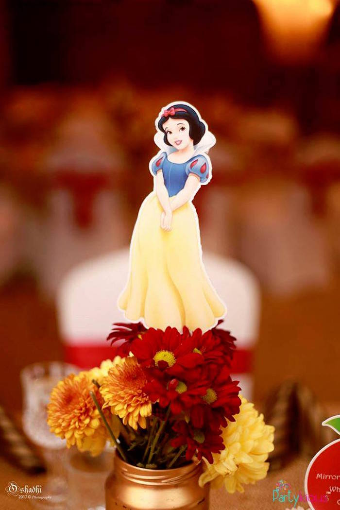 Flower topper from a Snow White & The Seven Dwarfs Birthday Party on Kara's Party Ideas | KarasPartyIdeas.com (15)