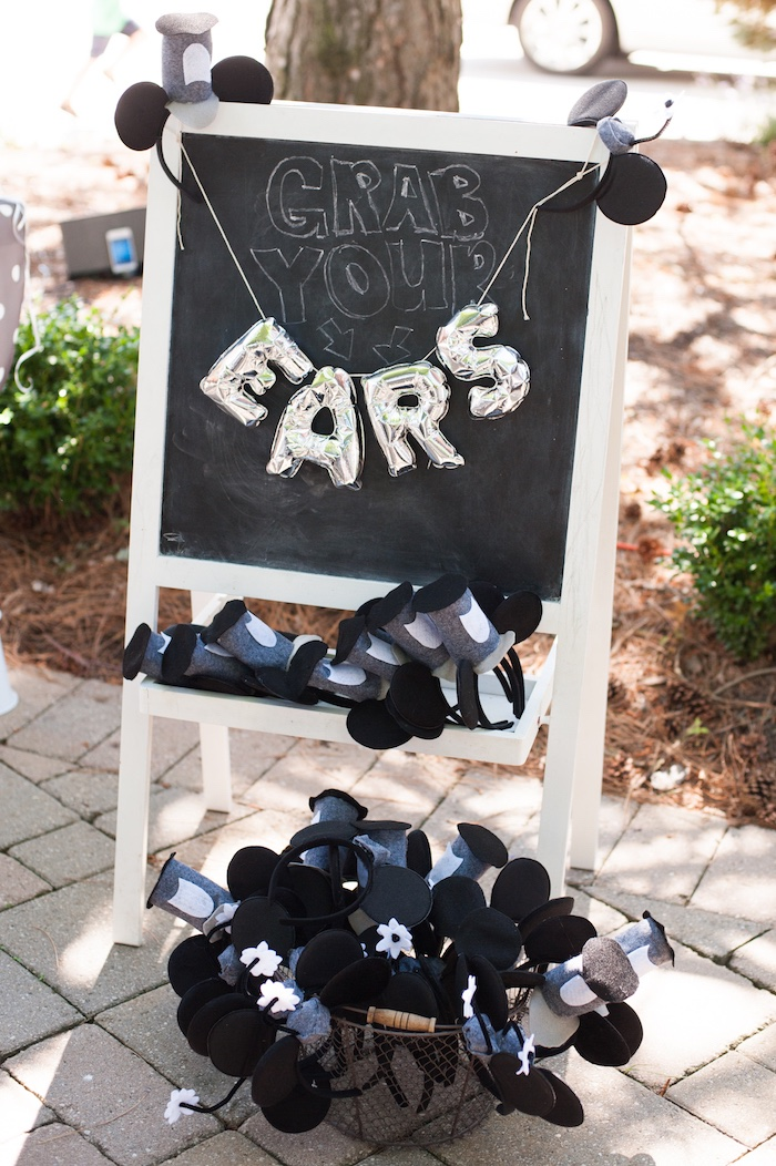 Mickey Ears from a Steamboat Willie Classic Mickey Mouse Birthday Party on Kara's Party Ideas | KarasPartyIdeas.com (25)