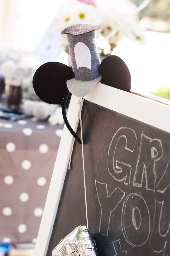Mickey Ears from a Steamboat Willie Classic Mickey Mouse Birthday Party on Kara's Party Ideas | KarasPartyIdeas.com (24)