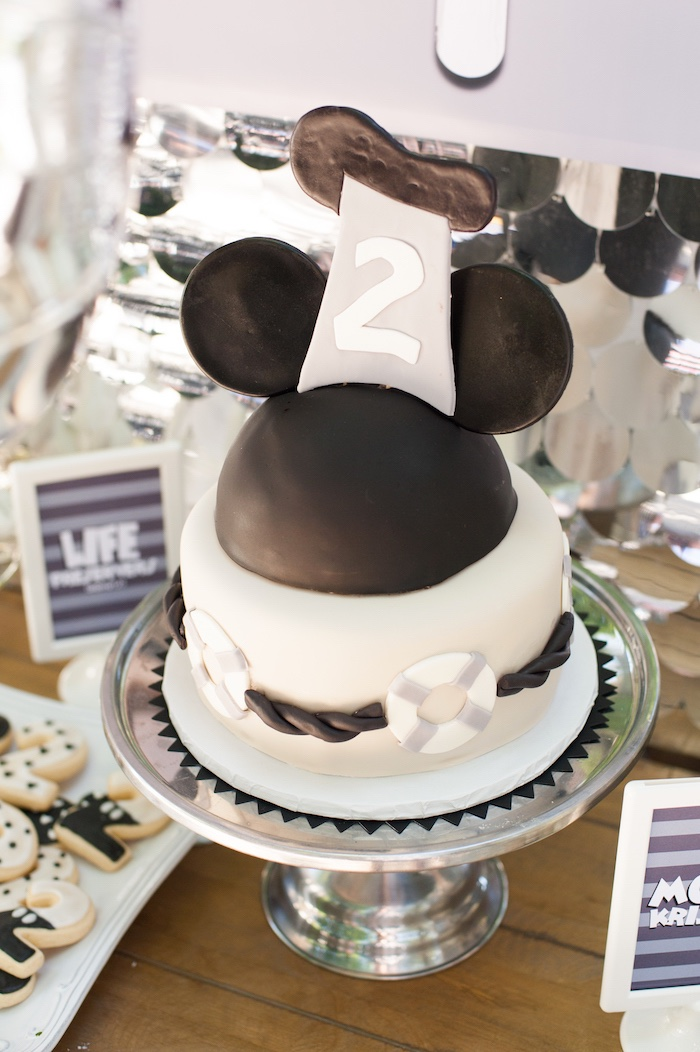 Steamboat Willie Mickey Mouse Cake from a Steamboat Willie Classic Mickey Mouse Birthday Party on Kara's Party Ideas | KarasPartyIdeas.com (22)