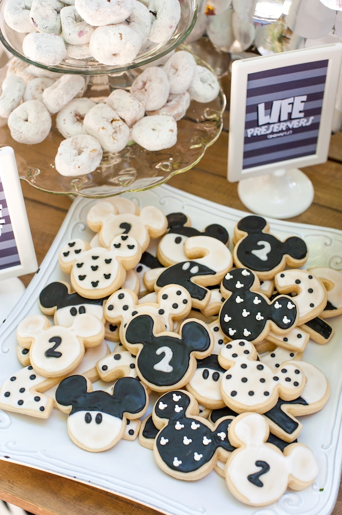 Mickey Mouse Cookies from a Steamboat Willie Classic Mickey Mouse Birthday Party on Kara's Party Ideas | KarasPartyIdeas.com (32)