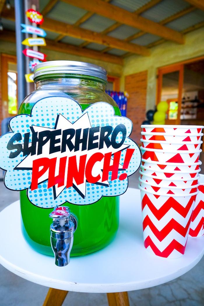 Superhero Punch from a Superhero Birthday Party on Kara's Party Ideas | KarasPartyIdeas.com (14)