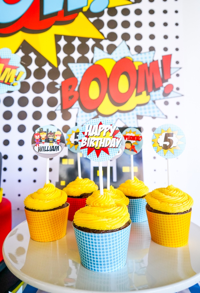 Cupcakes from a Superhero Birthday Party on Kara's Party Ideas | KarasPartyIdeas.com (13)