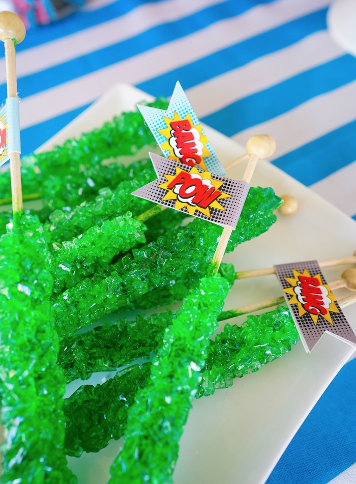 Kryptonite rock candy sugar sticks from a Superhero Birthday Party on Kara's Party Ideas | KarasPartyIdeas.com (12)