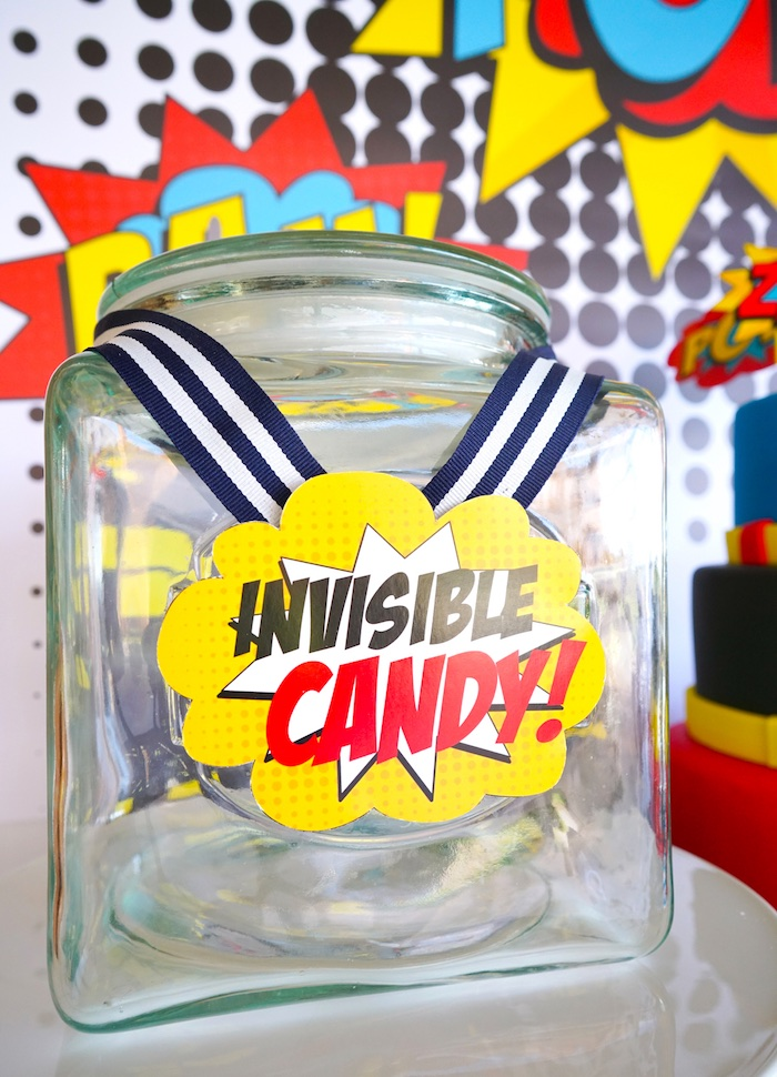 Favor jar from a Superhero Birthday Party on Kara's Party Ideas | KarasPartyIdeas.com (10)