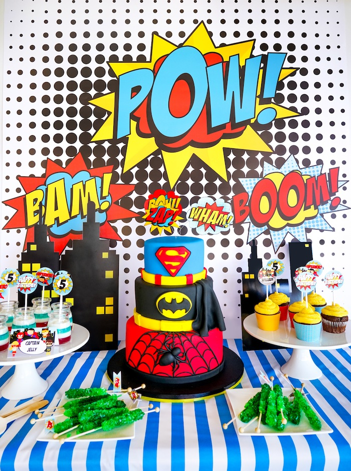 Superhero dessert table from a Superhero Birthday Party on Kara's Party Ideas | KarasPartyIdeas.com (9)