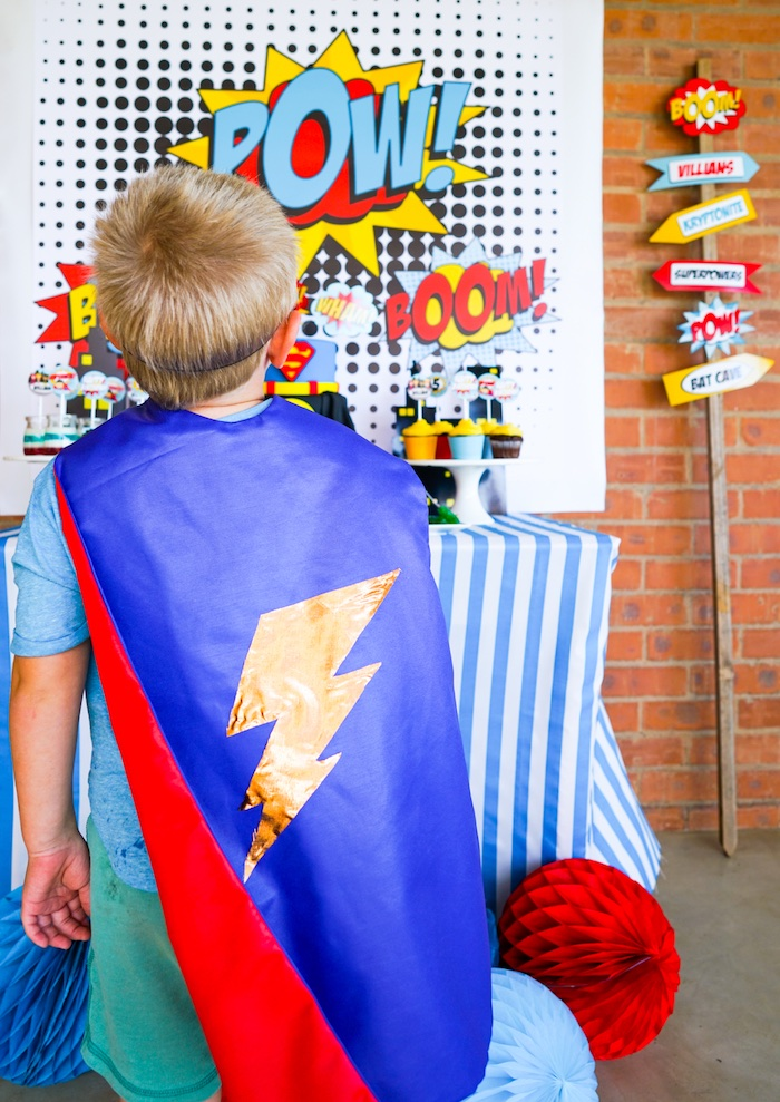 Lightning Bolt Superhero Cape from a Superhero Birthday Party on Kara's Party Ideas | KarasPartyIdeas.com (8)