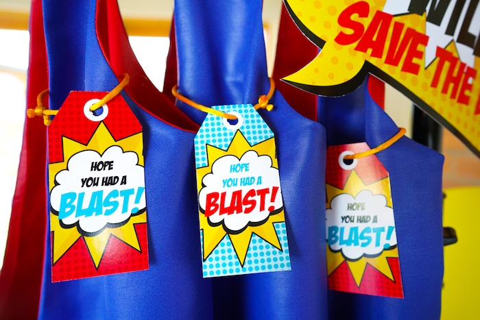 Favor tags from a Superhero Birthday Party on Kara's Party Ideas | KarasPartyIdeas.com (4)