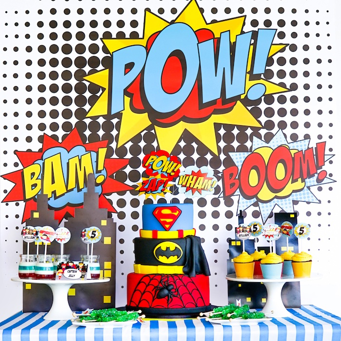 Karas Party Ideas Bam Pow Superhero Birthday