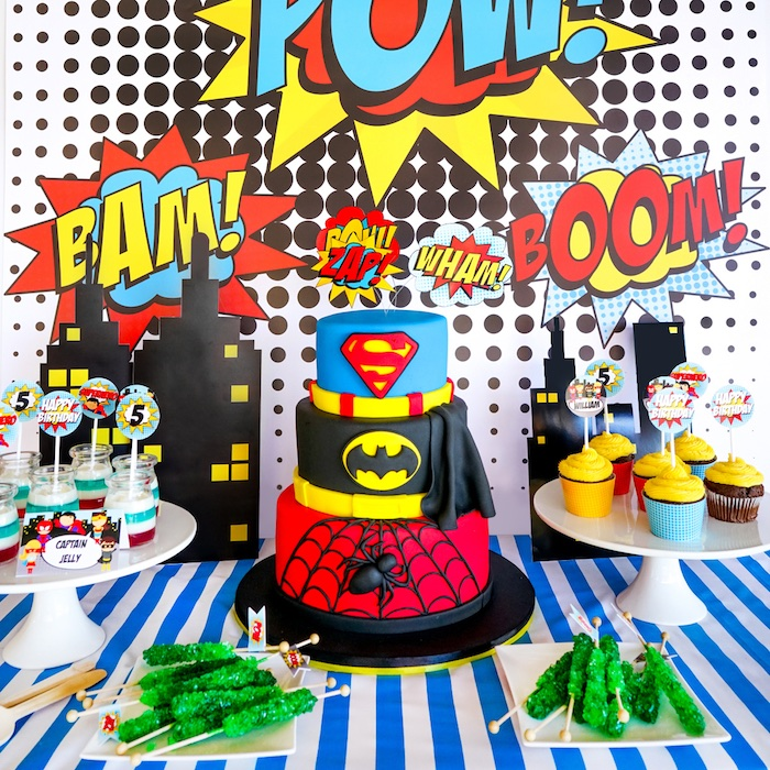 Superhero Cake from a Superhero Birthday Party on Kara's Party Ideas | KarasPartyIdeas.com (2)