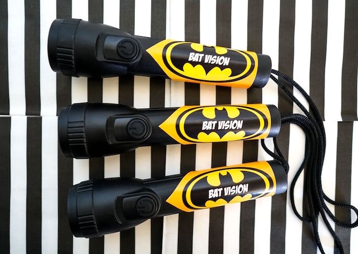 """Bat Vision"" flashlight favors from a Superhero Birthday Party on Kara's Party Ideas 