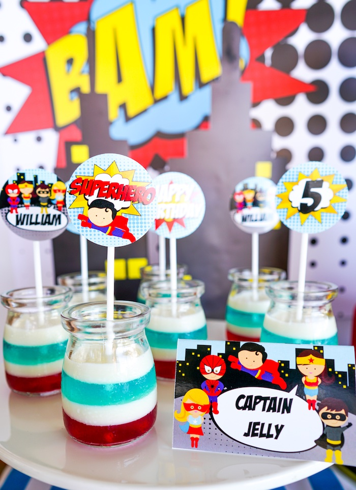 Superhero jello cups from a Superhero Birthday Party on Kara's Party Ideas | KarasPartyIdeas.com (22)