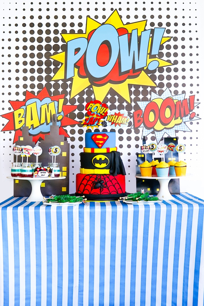 Superhero Party Table from a Superhero Birthday Party on Kara's Party Ideas | KarasPartyIdeas.com (20)