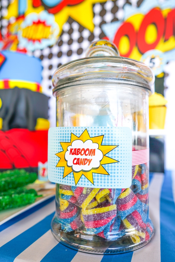 Kaboom Candy from a Superhero Birthday Party on Kara's Party Ideas | KarasPartyIdeas.com (19)