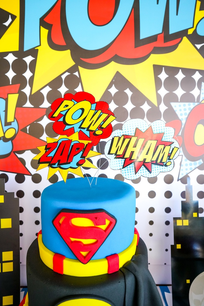 Superhero expression cake toppers from a Superhero Birthday Party on Kara's Party Ideas | KarasPartyIdeas.com (18)