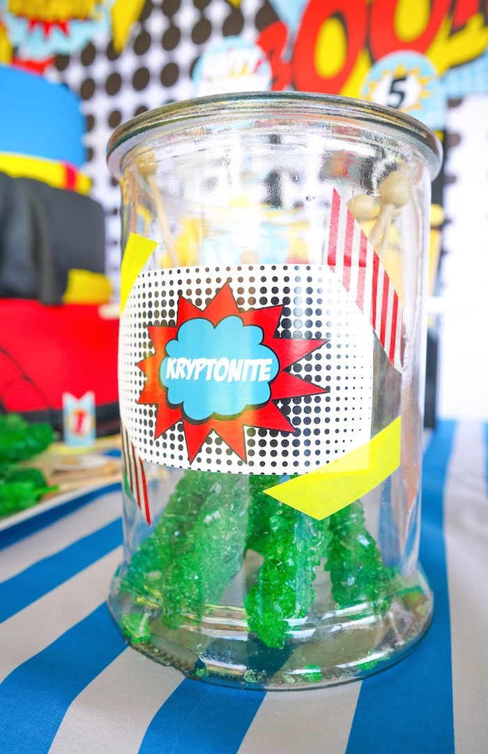 Kryptonite sugar sticks from a Superhero Birthday Party on Kara's Party Ideas | KarasPartyIdeas.com (17)